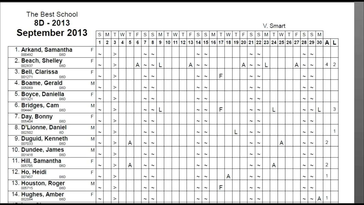 attendance forms template