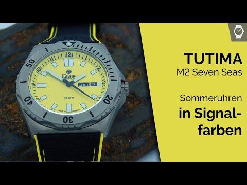 Makro: Tutima Glashütte M2 Seven Seas Automatik   orange & gelbe Taucheruhren   ARMBANDUHREN Magazin