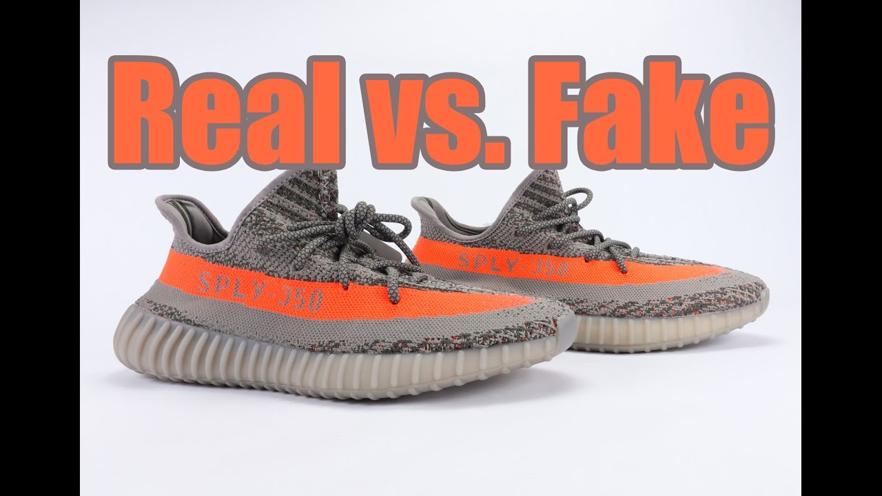 51b2226a4eb Real vs Fake adidas Yeezy Boost 350 V2 Beluga Legit Check - YouTube