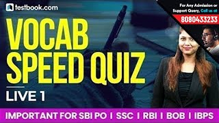 Vocab Speed Quiz Live 1 | Learn English Vocabulary with Pratibha Ma'am | Must Watch for SSC & Bank