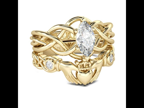 claddagh ring yellow gold irish claddagh wedding ring set - Claddagh Wedding Ring Sets