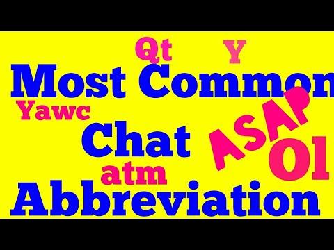 Common Chat Abbreviation/msg Abbreviation/text Abbreviation/ Text Symbol