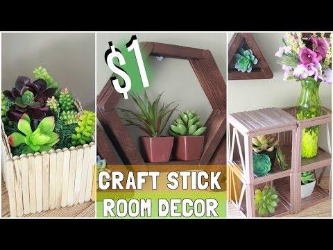 DOLLAR TREE $1 CRAFT STICK ROOM DECOR IDEAS D.I.Y
