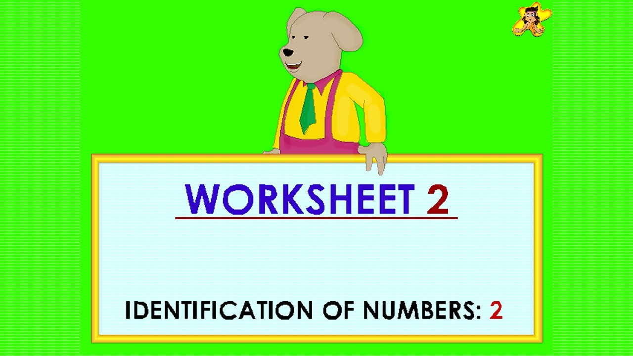 Kindergarten learning numbers worksheet - number 2 - YouTube