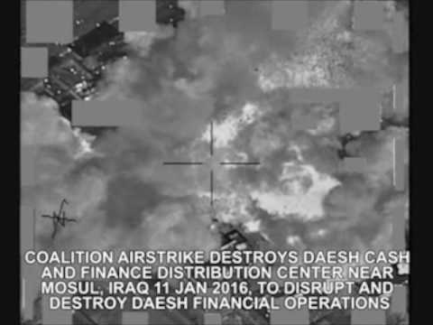 NATO Unclassified: Coalition Airstrike Destroys Daesh Finance Distribution, Mosul on Jan. 11, 2016.