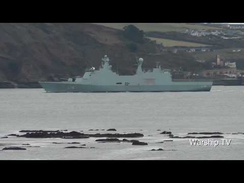 ROYAL DANISH NAVY HDMS ABSALON L16 BY THE BREAKWATER IN PLYMOUTH SOUND - 4th December 2017