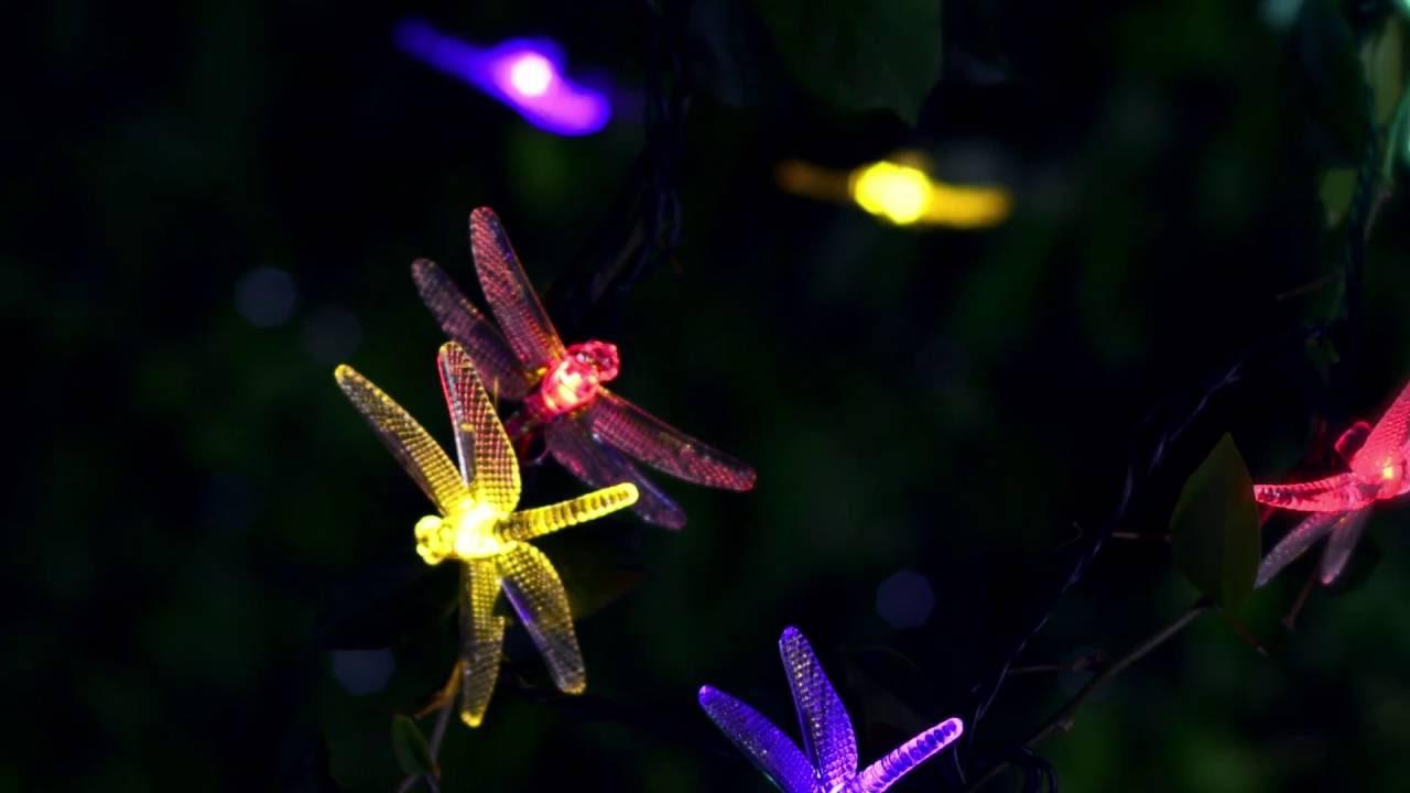 Led Solar 20 Light Multi Color Dragonfly String Lights Garden Patio Decor