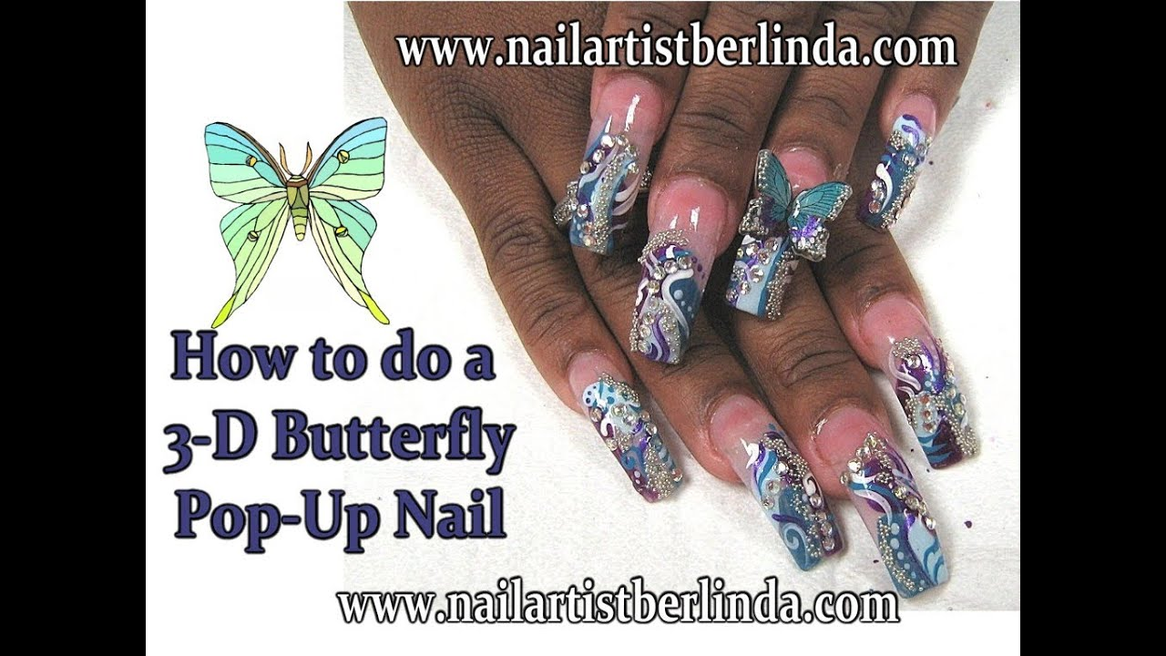 3 d pop up butterfly nail art by nail artist berlinda youtube prinsesfo Gallery