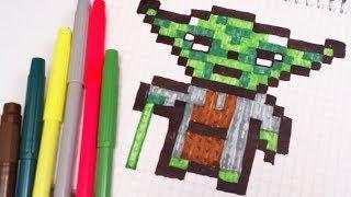РИСУНКИ ПО КЛЕТОЧКАМ – МАСТЕР ЙОДА -  Pixel Art - Простые рисунки звездные войны