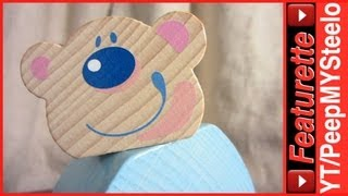 Haba Wooden Push Toy For Kids In Baby Blue Color W/ Cute Bear Face & Rolling Wheels