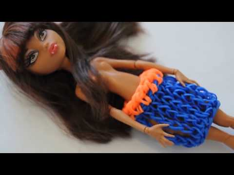 Юбка из резиночек для куклы