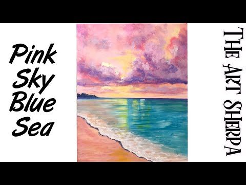 Cotton Candy Clouds over Dream beach How to paint with Acrylic