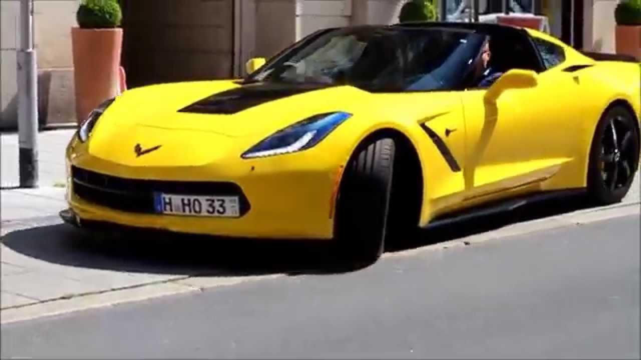 Yellow Corvette C7 Stingray Z51 Driving Away