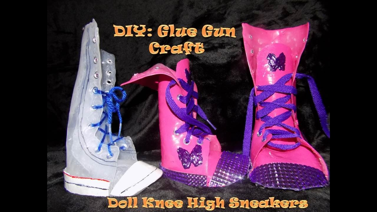 729e31ece7eca2 DIY Doll Shoes Easy with Hot Glue Gun– How to Make Doll Shoes Knee High  Sneakers Part 1 - YouTube
