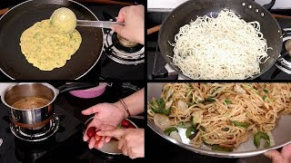 Special Dinner CHOWMEIN | Saturday Vlog | Indian easy healthy Morning Breakfast | Besan Pudla