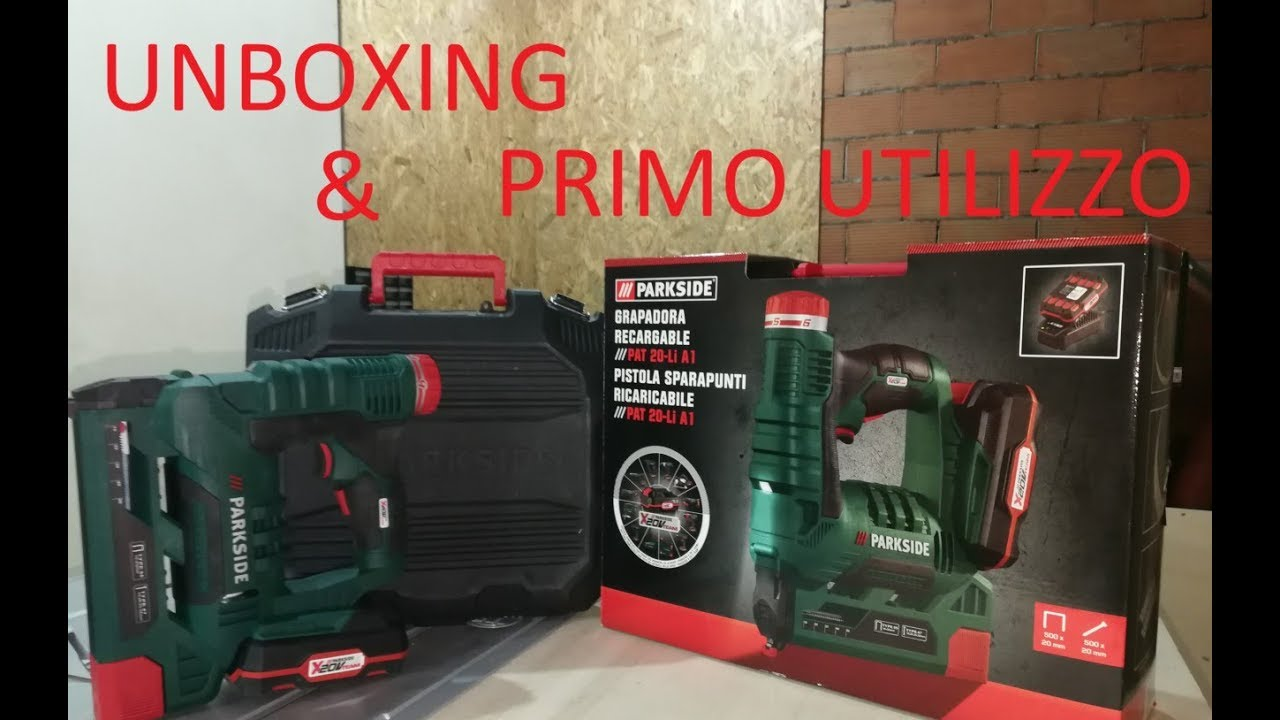 Unboxing sparapunti parkside x20v team primo utilizzo for Pistola sparapunti parkside