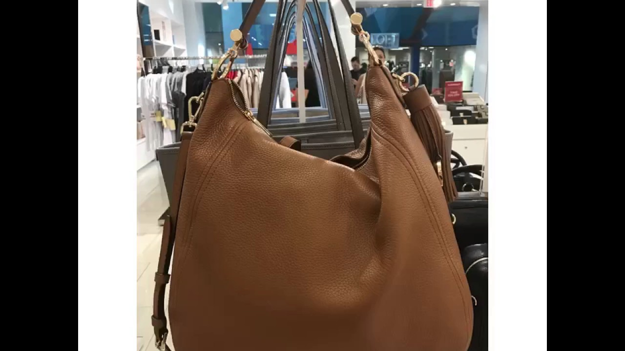 692c2dd53b8c MICHAEL KORS FRANCES PEBBLED LEATHER XL CONVERTIBLE HOBO SHOULDER BAG-ACORN