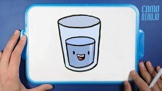 Como Dibujar Vaso de Agua paso a paso | How to Draw a Cup of Water | Dibujar Kawaii es Fácil
