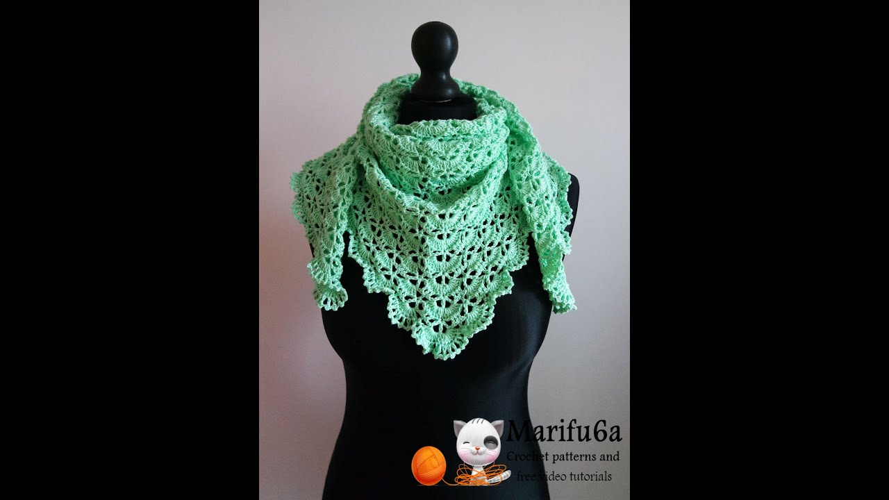 Free Crochet Pattern For A Virus Shawl : How to crochet spring triangle baktus wrap shawl free ...
