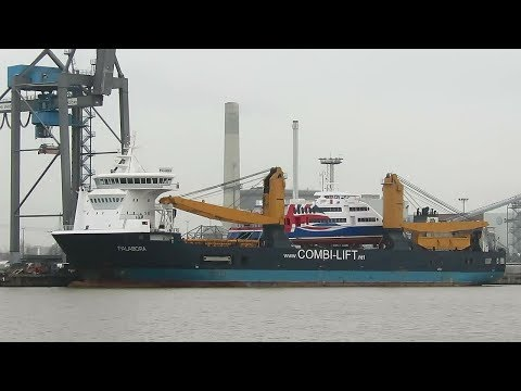 ex Helgoland ferry HALUNDER JET 9281671 carried by combi lift crane ship PALABORA IMO 9501875 Emden