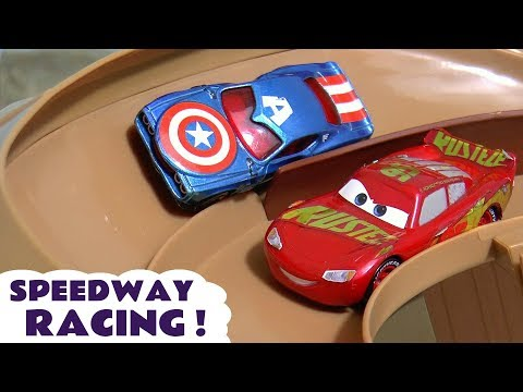 Cars 3 Hot Wheels Superheroes Speedway Racing with Disney Pixar McQueen and Marvel Avengers