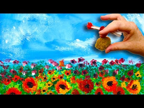EASY Poppies🌹 NO BRUSHES ACRYLIC Painting  Sponge And Cotton Swabs  BEGINNERS Acrylic Painting