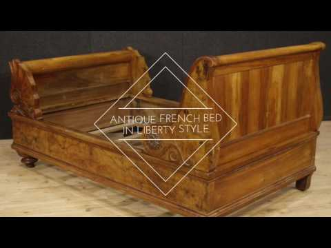 Antique French bed in walnut and burl walnut from 19th century. Antiques and decorative shop online