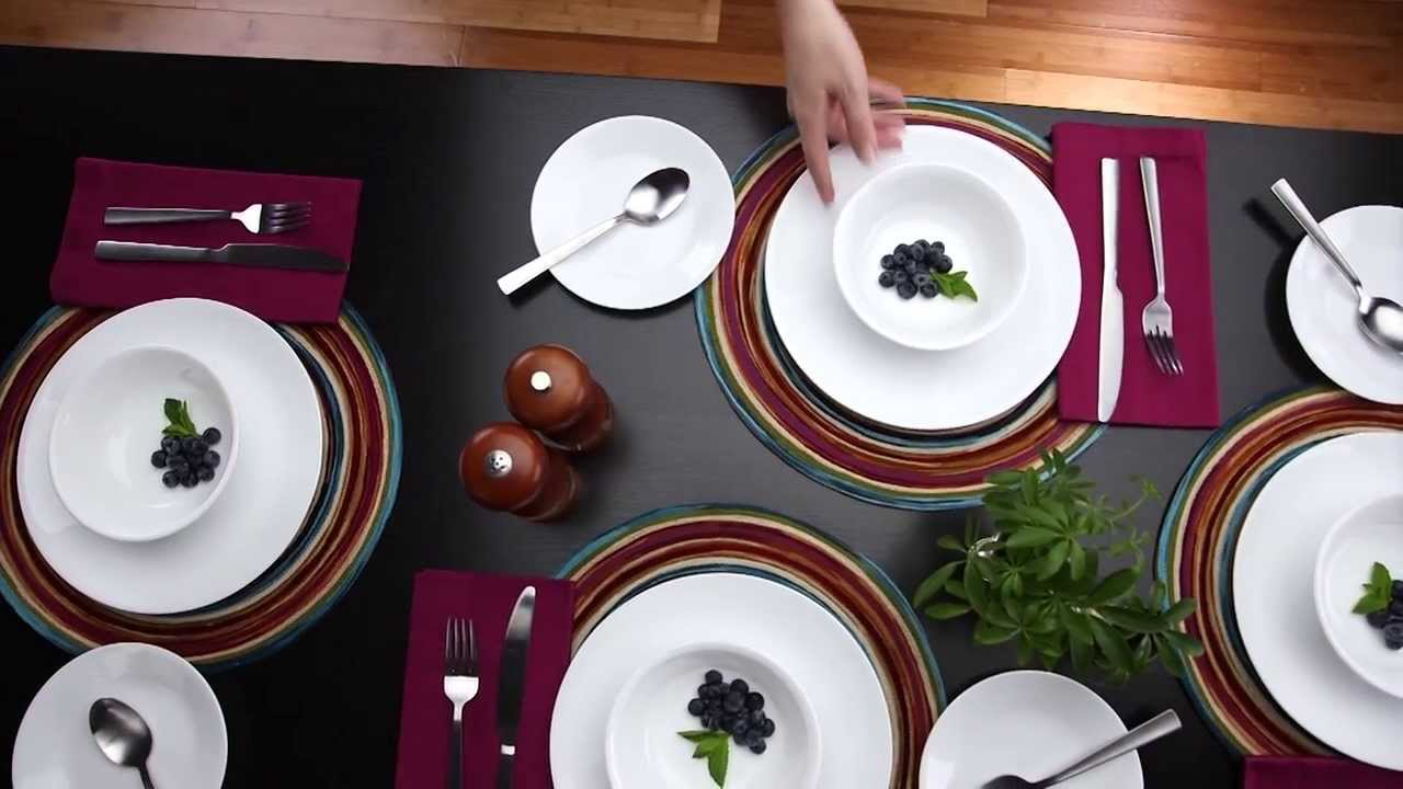 & Corelle - Winter Frost White 16 Piece Dinnerware Set - YouTube