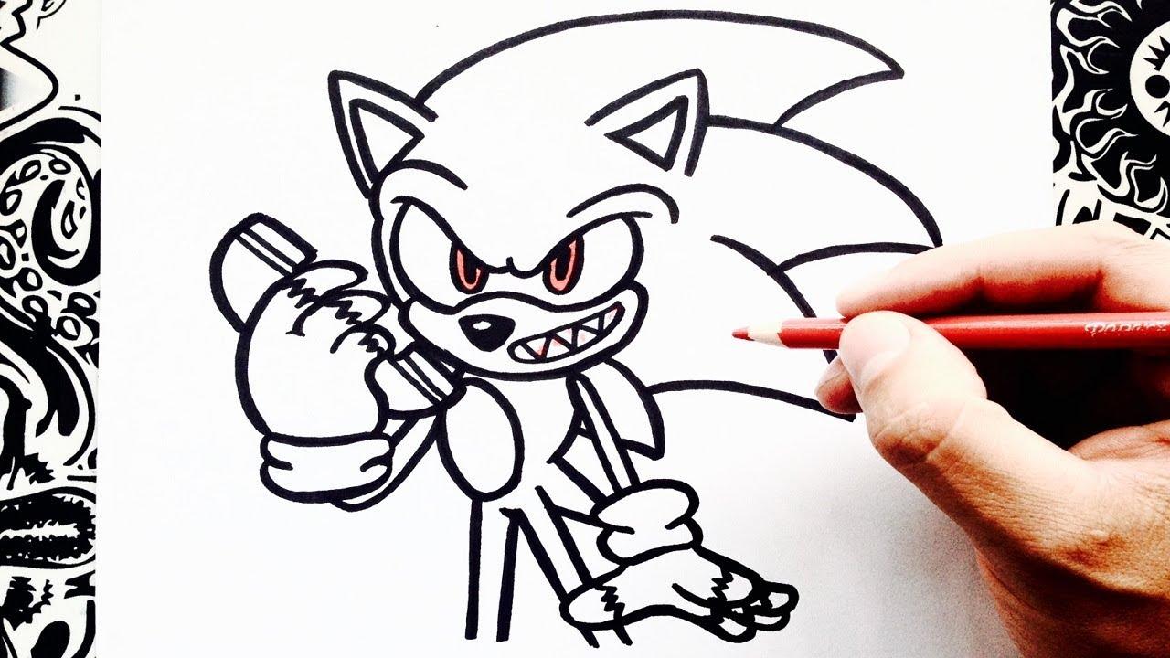 Como Dibujar A Sonic Exe How To Draw Sonic Exe Como Desenhar Sonic