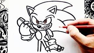 como dibujar a sonic exe | how to draw sonic exe | como desenhar sonic