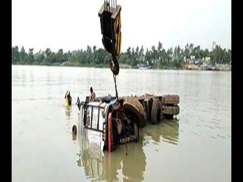 Lorry Drowned At Bhagirathi River At Shantipur