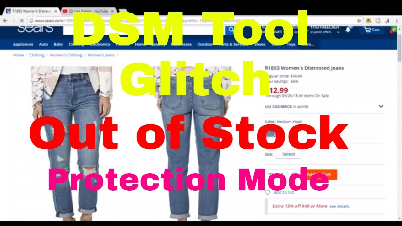 DSM Tool Sears.com Supplier Out of Stock Protection Mode Glitch Due to No Free Shipping