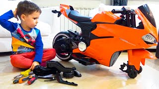 Artem and assembling Sportbike and riding a Toy Motorcycle