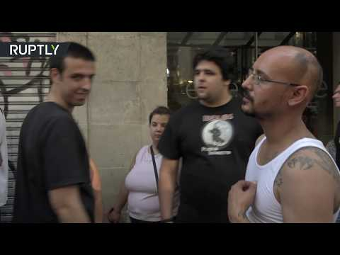 Far-right activists scuffle with counter-protesters in Barce