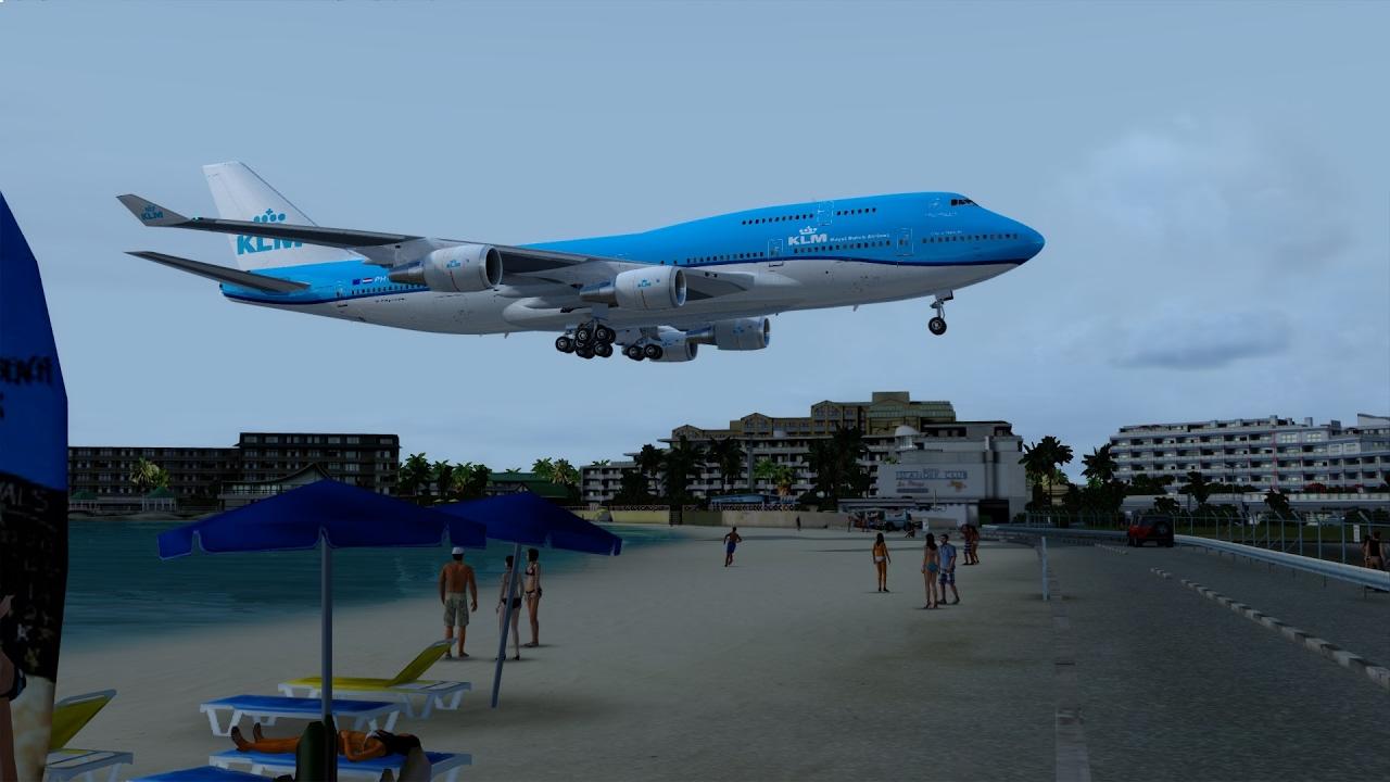 [P3D] St  Maarten (TNCM) Approach in the NEW PMDG Boeing 747-400!