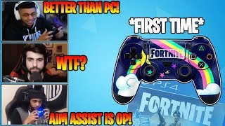*PC* Streamers Play Fortnite On Console For The First Time! *AIM ASSIST IS OP!*