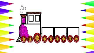 Train For Kids | Baby Drawing Glitter Train | Coloring Train For Kids | Art For Children | Painting