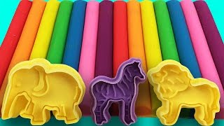 Learn Colors With Play Doh Zoo Animals Elephant Zebra Lion Molds Fun & Creative for Kids Rhymes