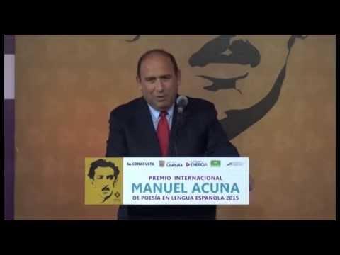 Entrega Rubén Moreira Premio Internacional Manuel Acuña de Poesía en Lengua Española 2015