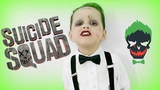 SUICIDE SQUAD: Joker Makeup Tutorial  2016  (DIY KIDS HALLOWEEN COSTUMES)