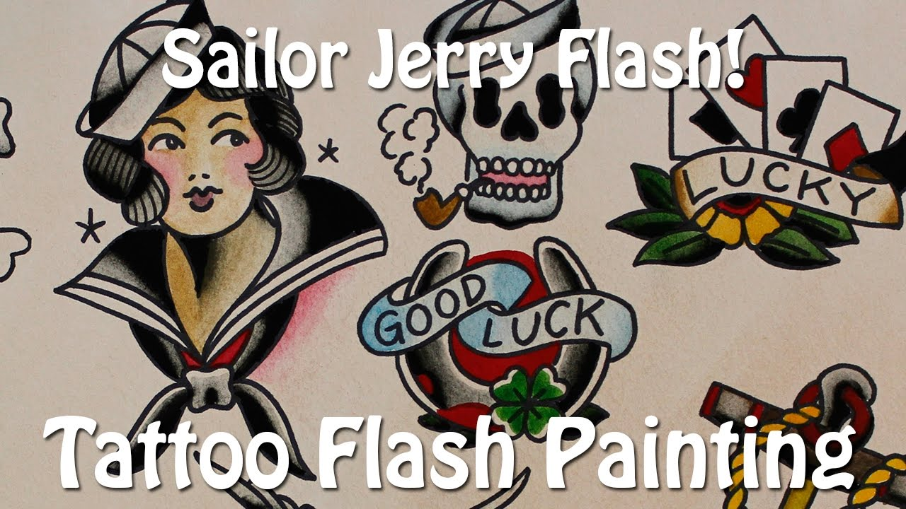 Sailor Jerry Flash! - Tattoo Flash Painting - YouTube