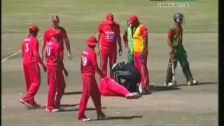 Keegan Meth lost teeth by straight drive (Bangladesh vs Zimbabwe 5th ODI 2011)