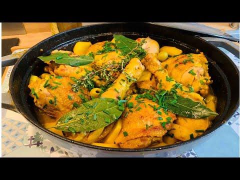 repas-économique-et-facile:-fricassé-de-poulet-champignons-et-pdt