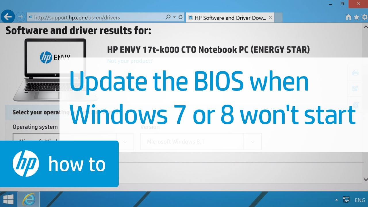 How to Update the BIOS when Windows 7 or 8 Does Not Start | HP Notebooks |  HP