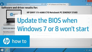 How to Update the BIOS when Windows 7 or 8 Does Not Start - HP Notebook Computers