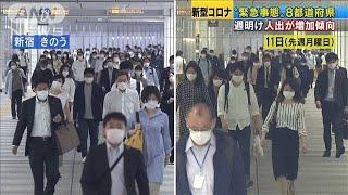 宣言継続の8都道府県 人出が1週間前より増加傾向(20/05/19)