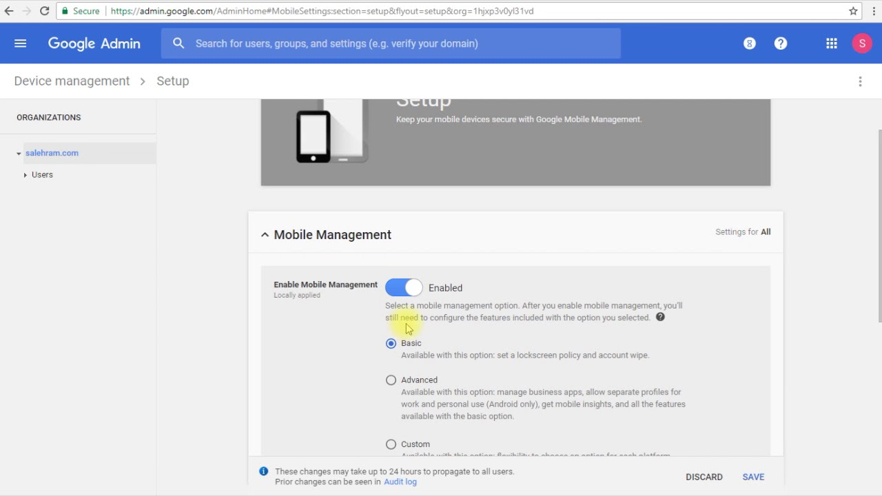 G Suite administrator course - How to enable device management
