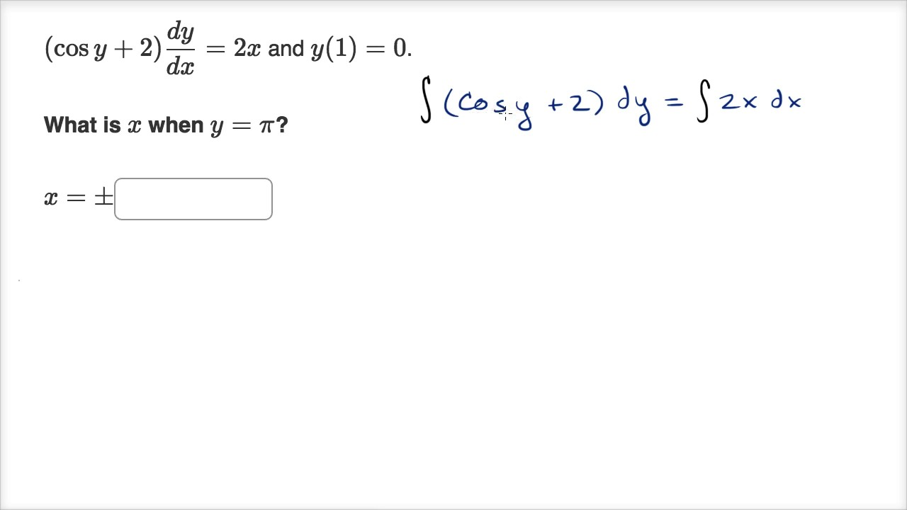 Worked example: separable equation with an implicit solution