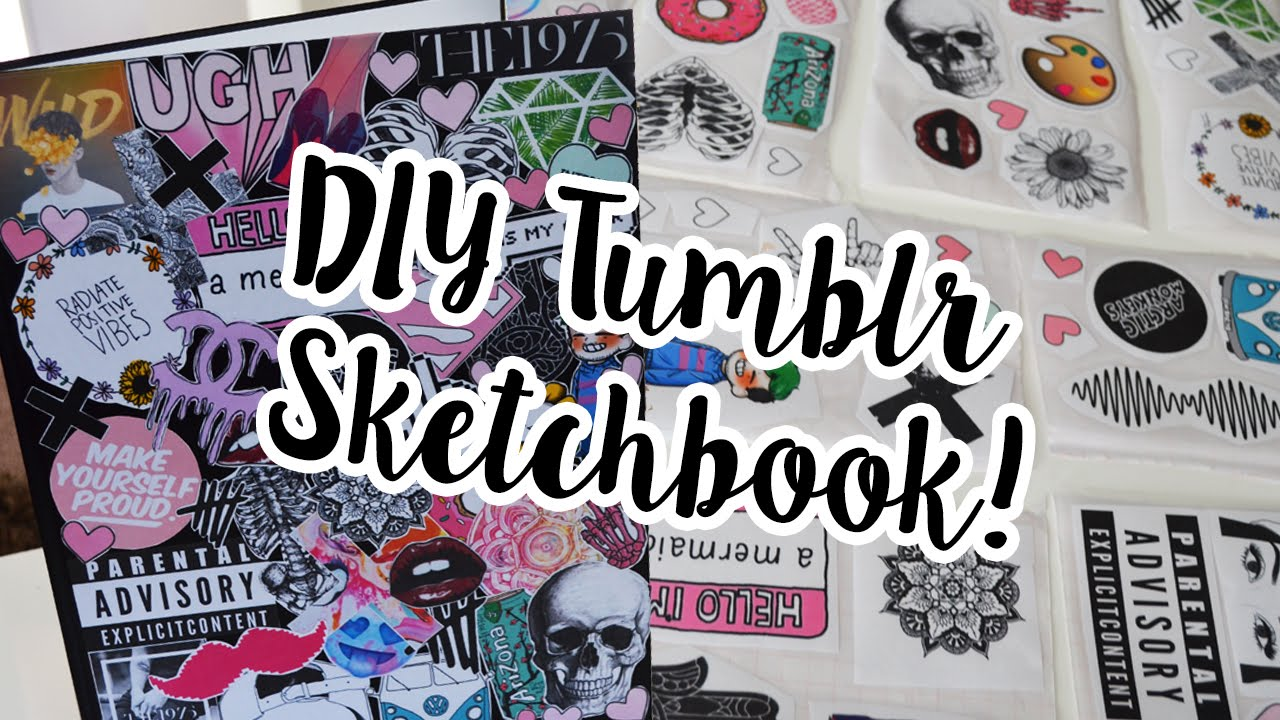 Drawing Book Cover Decoration Images : Diy tumblr sketchbook decor sticker drawing journal