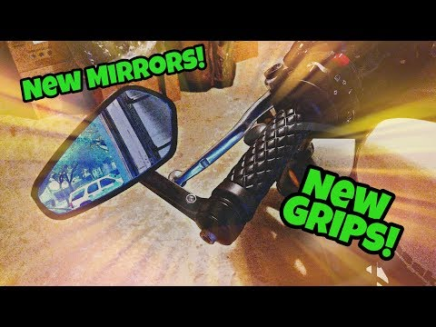 Bar End Mirrors & New Grips  Kawasaki Vulcan S   Install Video